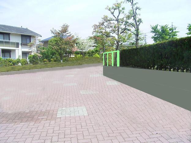 植え込みの一部を無くし柵を設ける(修正、光ヶ丘1)
