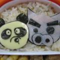 Photos: ぶりぶりざえもんとブリーフパンダ弁当?(クレヨンしんちゃんキャラ)