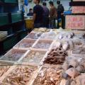 写真: 新鮮な魚介が並ぶ