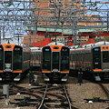 尼崎駅での難波方面列車の並び1