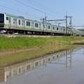 Photos: 東北本線普通列車 水面にどう映るか練習