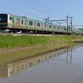 Photos: 東北本線普通列車 水面にどう映るか調整