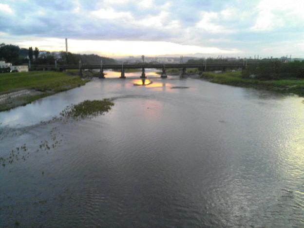 多摩川と夕焼け