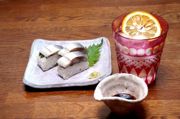 IMGP9897瀬戸内海産コノシロの押し寿司と侍ロック