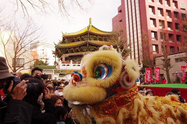この日最初の中国獅子舞?ステージを降りてみなに振舞う・・20140202